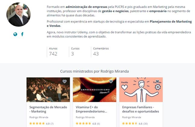 Mini curriculo do Rodrigo Miranda, professor de empreendedorismo