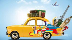 carro amarelo representando o carro de um viajante com malas em cima