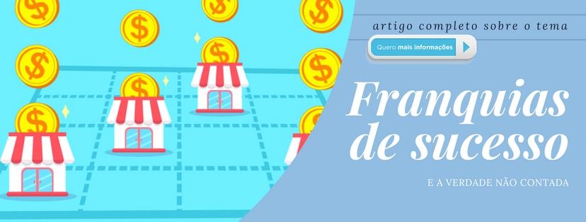 Banner apresentando o artigo Franquias de Sucesso, com uma imagem de lojas em um diagrama.