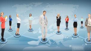 mapa do mundo com diferentes profissionais se apresentando