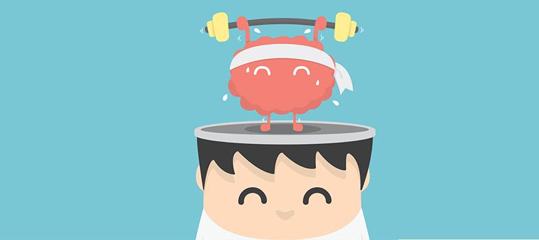 Cartoon com a cabeça aberta com um mascote fazendo academia