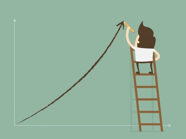 boneco em cima de uma escada desenhando um gráfico de crescimento