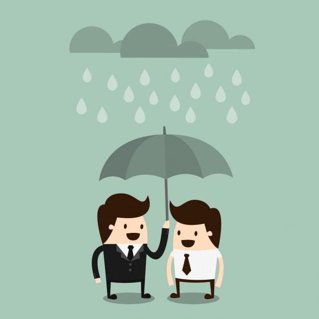 dois bonecos embaixo de um guarda-chuva