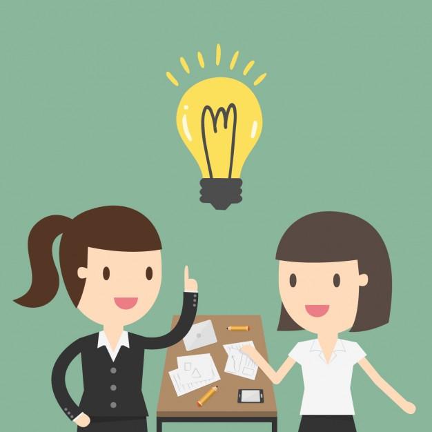 duas bonecas, falando no escritório com uma lâmpada no meio representando uma ideia