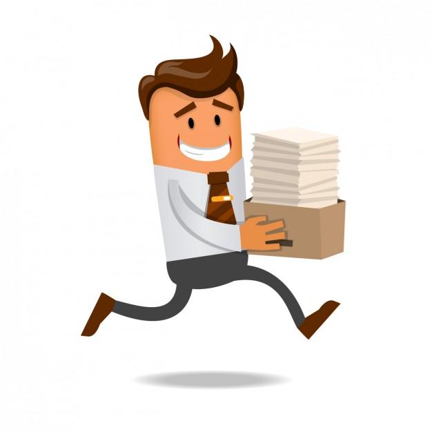 Cartoon carregando uma pilha de papéis no escritório