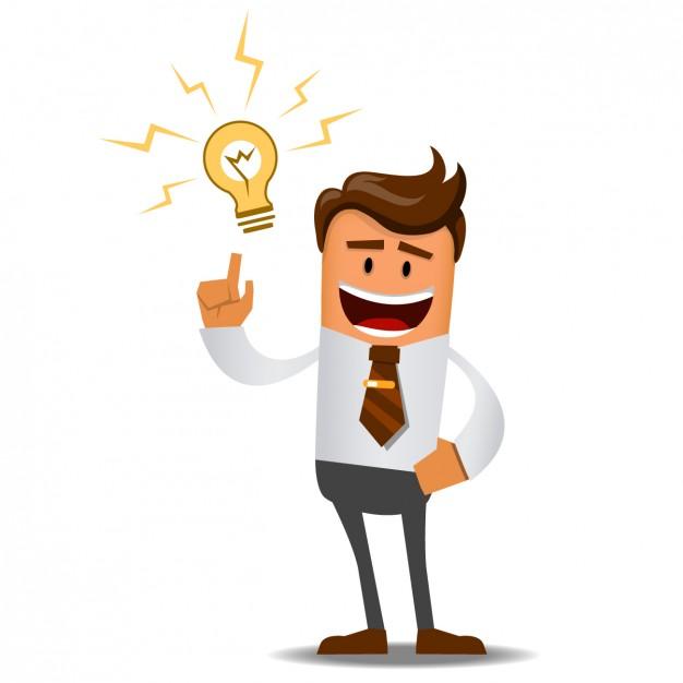 cartoon apontando o dedo para cima com lâmpada brilhante