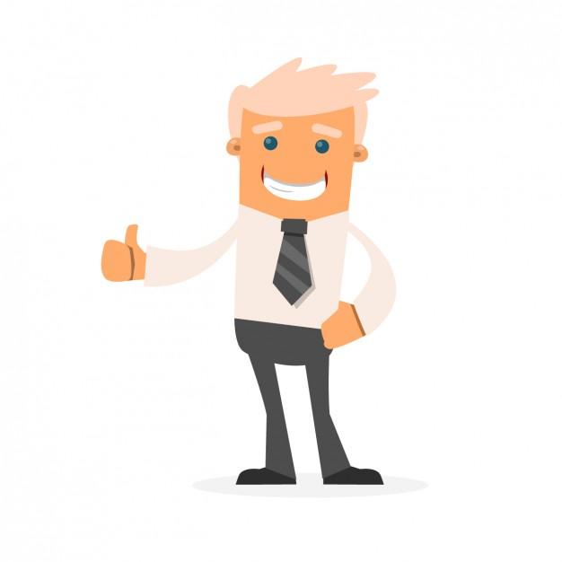 Cartoon fazendo sinal de positivo com sorriso no bolso