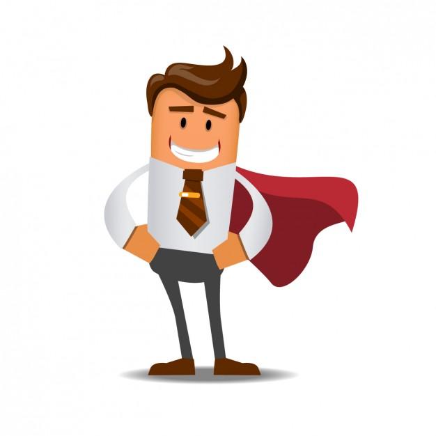 Cartoon empreendedor com capa de super homem