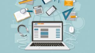Desenho de um computador com vários itens à volta: celular, calculadora, lupa, outros