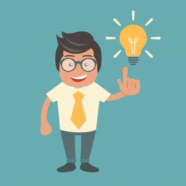 Empreendedor em cartoon com uma lâmpada com uma ideia ou boa disposição