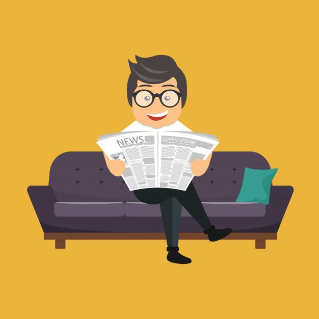 Cartoon sentado no sofá lendo um jornal