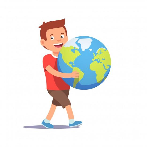 boneco de um menino carregando o planeta terra nas mãos