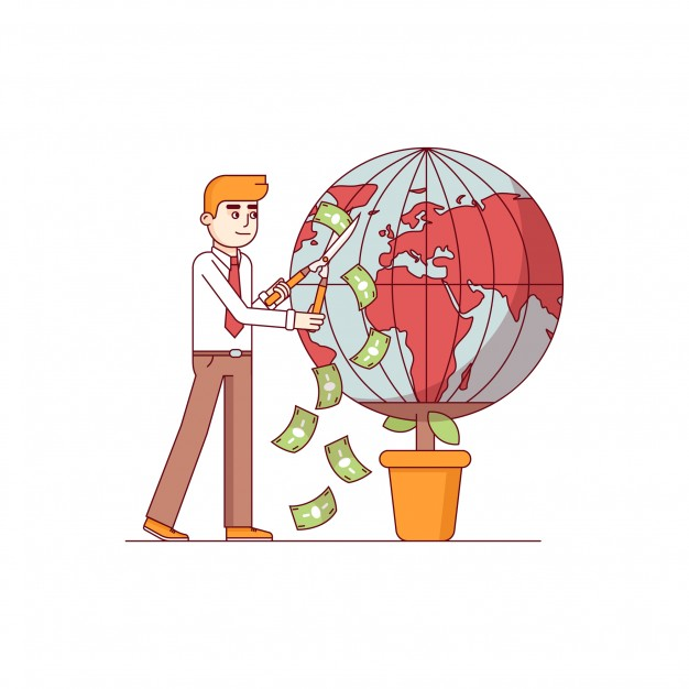 boneco fazendo a poda de um vaso, com o planeta terra, e os cortes geram notas de dinheiro