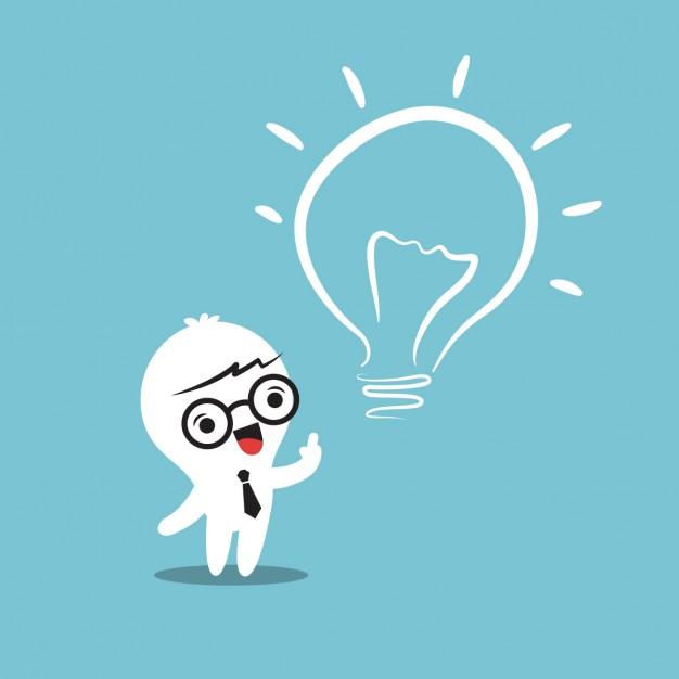 Cartoon tendo uma ideia com uma lâmpada ao lado