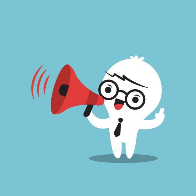 cartoon branco com um megafone vermelho na mão falando