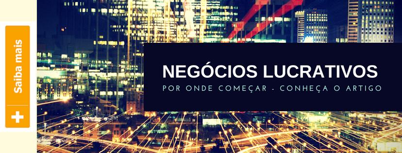 Banner apresentando artigo: Negócios Lucrativos com imagem de uma cidade noturna