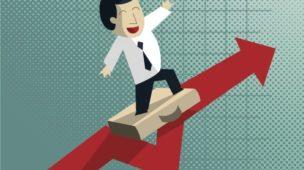 vetor em cima de uma flecha crescente, representando um empreendedor navegando