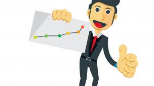 vetor representando um homem de negócios com um gráfico na mão