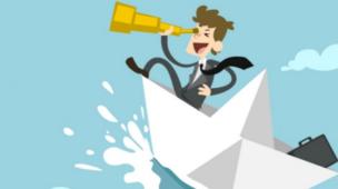 Cartoon com uma luneta em um barco de papel