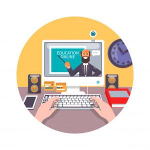 vetor de duas mãos em um notebook, na tela há um curso online
